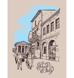 digital drawing of Rome street Italy old italian vector image