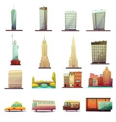 New York Transportation Landscape Icons Set vector image