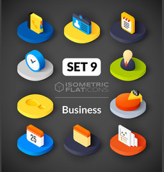 Isometric flat icons set 9 vector image