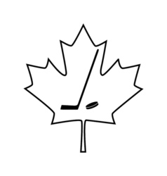 Canadian maple leaf with hockey stick icon vector