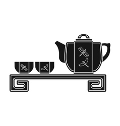 Japanese tea black icon in black style isolated on vector