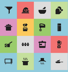 Set of 16 editable meal icons includes symbols vector
