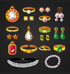 Colorful jewelry accessories icons set vector