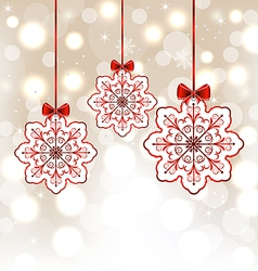 Winter decoration with snowflakes and bows vector