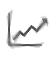 Growing bars graphic sign  gray icon vector