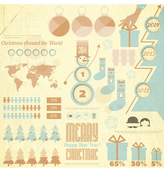 Vintage christmas and new year infographic vector