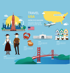 Usa map and landmarks for traveling in united vector