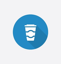 coffee Flat Blue Simple Icon with long shadow vector image
