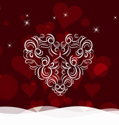 Background with ornament heart by valentines day vector