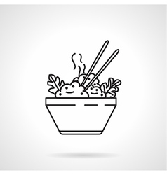 Rice bowl black line icon vector