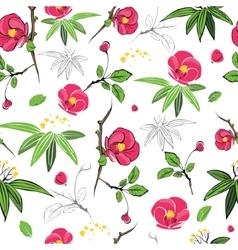 Magenta Green Kimono Flowers Seamless vector image