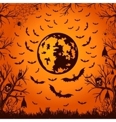 Background for halloween moon and bats vector