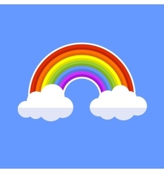 Rainbow With Clouds Flat Style Icon vector image