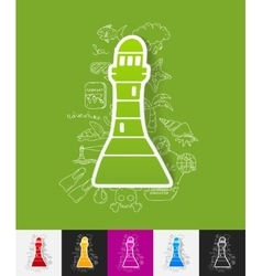 Lighthouse paper sticker with hand drawn elements vector