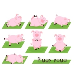 Pig yoga cute pig in different yoga poses vector