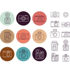 Vintage camera element icon set vector
