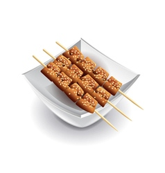 Yakitori skewers isolated on white vector