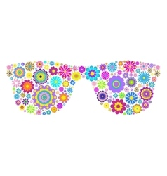 Floral eyeglasses on white background vector