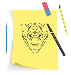 Polygonal head of tiger on yellow sticky note with vector