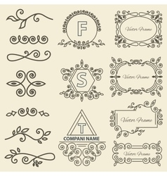 Set logos framework individual ornament elements vector