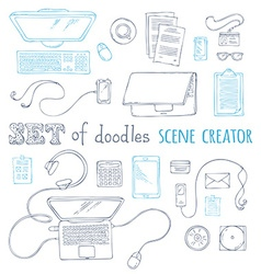 Set of doodles scene creator design elements vector
