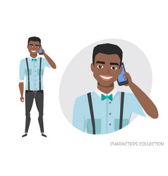 a black african american man is talking on the vector image