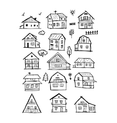 Art houses collection sketch for your design vector