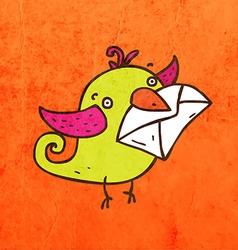 Bird with mail cartoon vector