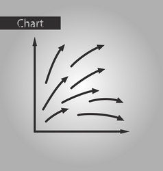 Black and white style icon arrow chart vector