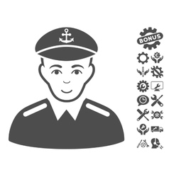 Captain icon with tools bonus vector