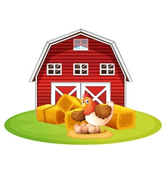 Chicken and barn vector image vector image