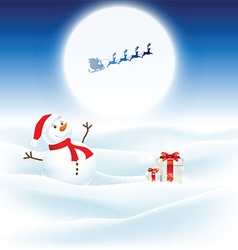 Christmas background with snowman and santa vector image