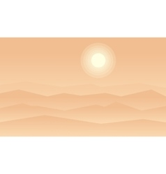 Dessert with fog of silhouetes vector
