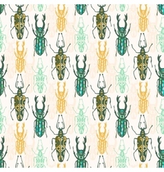 Ethnic tribal seamless pattern with insects vector