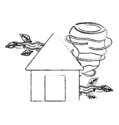 Figure house with twister and wind leaves natural vector