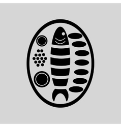 Flat in black and white fish with sauce vector