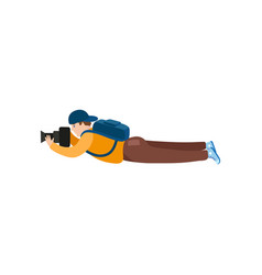 flat man lying with photo camera vector image vector image