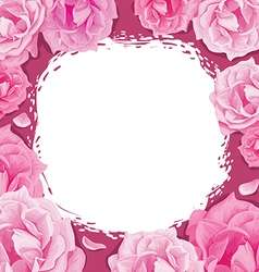 Frame of roses on a pink background vector