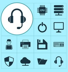 gadget icons set collection of programmer power vector image vector image