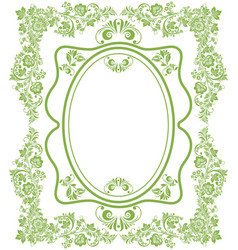 green eco russian floral frame background vector image