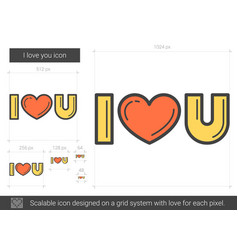 i love you line icon vector image