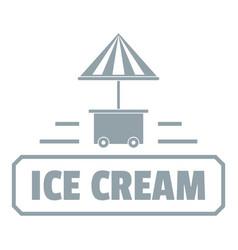 Ice cream stand logo simple gray style vector