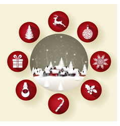 icon set of round frames with christmas vector image