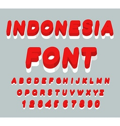 Indonesia font Indonesian flag on letters National vector image vector image