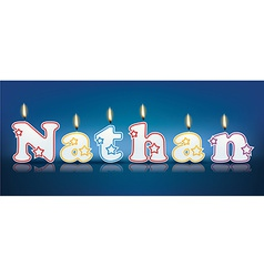 Nathan written with burning candles vector