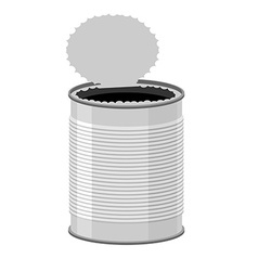 Open a tin can tin on a white background vector