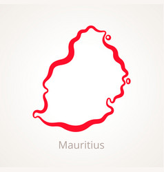 Outline map of mauritius marked with red line vector