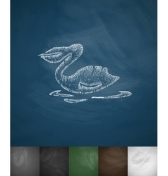 pelican icon Hand drawn vector image