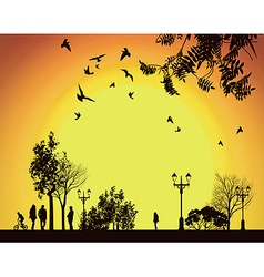 people walking to work through city park vector image vector image