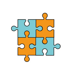 Puzzle jigsaw work team vector